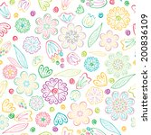 seamless cartoon floral pattern | Shutterstock . vector #200836109
