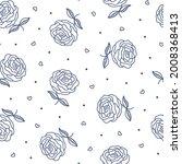 Vintage Outline Roses Seamless...
