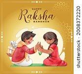 happy raksha bandhan...   Shutterstock .eps vector #2008372220