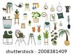 home plants in pots and wicker...   Shutterstock .eps vector #2008381409