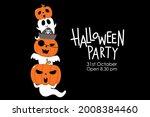 happy halloween invitation card ... | Shutterstock .eps vector #2008384460