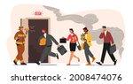 fireman with megaphone announce ... | Shutterstock .eps vector #2008474076
