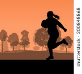 woman rugby player silhouette... | Shutterstock .eps vector #200848868