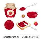 Raspberry Jam Set. Confiture...