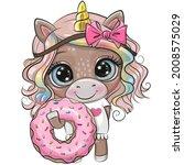 cute cartoon unicorn with pink... | Shutterstock .eps vector #2008575029