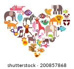 heart with animal vector icons. ... | Shutterstock .eps vector #200857868