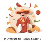 smiling chef in big mexican hat ...   Shutterstock .eps vector #2008583843