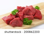 Heap Of Diced Beef Meat With...