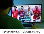 Man Play Pes 2021 On Tv Screen...
