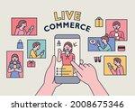 selling goods on mobile screen... | Shutterstock .eps vector #2008675346
