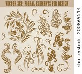vector set of decorative... | Shutterstock .eps vector #200869514