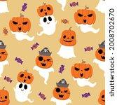 happy halloween wallpaper with... | Shutterstock .eps vector #2008702670