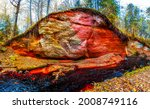 Red Sand Rock In The Autumn...