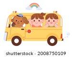 cute yellow kindergarten bus...   Shutterstock .eps vector #2008750109