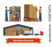 human and robotic warehouse... | Shutterstock .eps vector #200876876