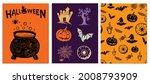 halloween symbols hand drawn...   Shutterstock .eps vector #2008793909