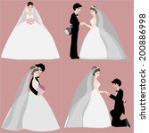 set of bride and groom for... | Shutterstock .eps vector #200886998
