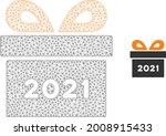 mesh 2021 gift model icon. wire ... | Shutterstock .eps vector #2008915433