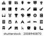 back to school icon set glyph...