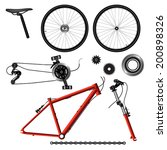illustration of bicycle parts.... | Shutterstock .eps vector #200898326