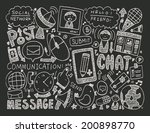 doodle communication background | Shutterstock .eps vector #200898770