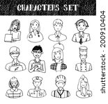 hand drawn characters set.  | Shutterstock . vector #200910404