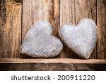 heart on a wooden shelf. wooden ... | Shutterstock . vector #200911220
