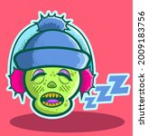 the zombie relaxes in his sleep ...   Shutterstock .eps vector #2009183756