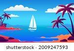 colorful ocean beach island...   Shutterstock .eps vector #2009247593