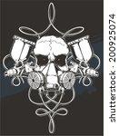 skull with spray gun   Shutterstock .eps vector #200925074