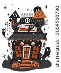 a festive house for halloween.... | Shutterstock .eps vector #2009500730