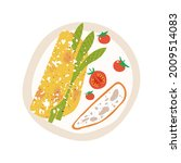 omelette with asparagus and... | Shutterstock .eps vector #2009514083