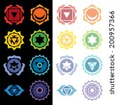8 chakras symbols set vector...   Shutterstock .eps vector #200957366
