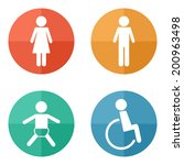 vector restroom icons on bright ... | Shutterstock .eps vector #200963498