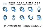icon set of time add two color...
