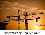 color picture of some cranes on ... | Shutterstock . vector #200975024