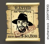 Wild west style wanted poster on dark background - stock vector