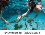 underwater shot of the couple... | Shutterstock . vector #200986016