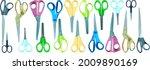 a large set of scissors. vector ...   Shutterstock .eps vector #2009890169