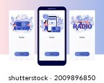 radio on air. tiny people... | Shutterstock .eps vector #2009896850