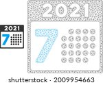 mesh 2021 year 7th day model... | Shutterstock .eps vector #2009954663
