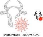 mesh cow coronavirus model icon.... | Shutterstock .eps vector #2009954693