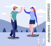 Man And Women Golfers Shaking...