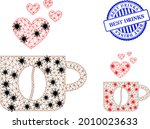 mesh polygonal love coffee cup...   Shutterstock .eps vector #2010023633