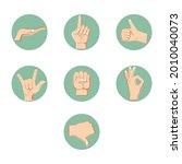 hand gestures collection  sign... | Shutterstock .eps vector #2010040073