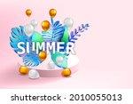 3d tropical leaves scene podium ... | Shutterstock .eps vector #2010055013