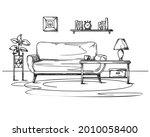 living room sketch in black on... | Shutterstock .eps vector #2010058400
