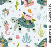seamless pattern with turtle...   Shutterstock .eps vector #2010060980