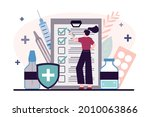 woman signs documents on... | Shutterstock .eps vector #2010063866