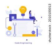 programmer or coder sitting on...   Shutterstock .eps vector #2010100013
